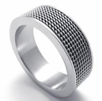asian screen - 8MM Width L Stainless Steel Siliverish Popular Mesh Screen Wedding Band Ring SZ