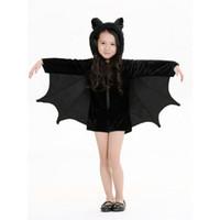 Bon Marché Mignon cosplay fille-Gold Hands Child Batgirl Cosplay Cute Costume Chapeau Costumes pour les filles Black Zipper Jumpsuit Connect Wing chiropteClothing Livraison gratuite