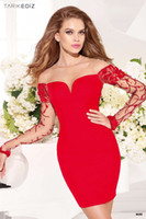 Wholesale 2016 Sheath Sheer Neck Romantic Red Cocktail Dresses Lace Applique Sleeves Illusion Short Stunning Homecoming Dresses