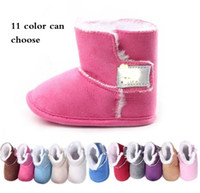 Wholesale Candy colored waist thickened BB warm boots Winter neonatal side adhesive tape casual toddler snow boots prewalker hot sale