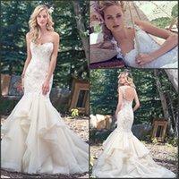 Wholesale Graceful Malina Mermaid Wedding Dresses Sweetheart with Crystal Beadings Ruffles Organza Cap Sleeves Plus Size Vestido De Novia