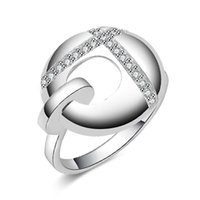 Wholesale 2016 hot sale stering silver plated circle lock band ring women fashion accessories wedding christmas valentine gift