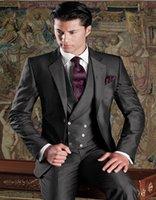 alpaca vest - Custom Made Groom Tuxedos Groomsman Dinner Suits Mohair Alpaca Blend Wedding Suits In Dark Grey Jacket Pants Vest