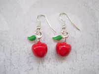 apple green jade earrings - 10pair D RED APPLE GREEN LEAF ENAMEL SP Earrings Rockabilly Cute Teacher Gift Bag MM LK678