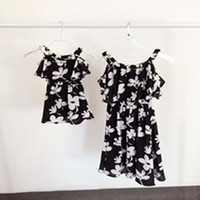 Wholesale 2016 Summer Styles Mother Daughter Chiffon Dresses Family Look Clothing Mom Daughter Beach Matching Clothes Mixed Color And Size