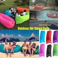 Barato Fabric sofa-Saco inflável rápido Hangout Lounger Air sono Camping Sofá KAISR Praia Nylon tecido saco de dormir cadeira cama preguiçoso almofadas ao ar livre dormir DHL