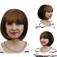 bang styles for short hair - Sexy Women BOBO Head Style Straight Bang Short Wigs Hair Cap Straight ombre Cosplay Wig dark brown wigs synthetic wig for black women