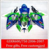 achat en gros de vert carénages corona gsxr-Corona carénages en vente de Suzuki Vert Bleu Racing Parts 2006 2007 GSX-R600 GSX-R750 06 07 GSXR600 GSXR750 GSXR 600 GSXR 750 K6 ABS
