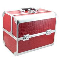 aluminum grain boxes - Hot Sales High Grade Aluminum Makeup Cases Crocodile Grain PU Leather Toolbox Box Cosmetic Case Storage Bags