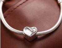 Wholesale Valentine s day Fit Pandora Bracelets ALE Sterling Silver ribboin heart charm beads w cz for women DIY jewelry Bracelets Necklaces