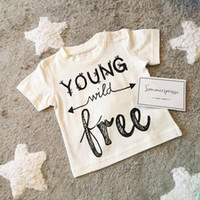 Wholesale fashion baby summer clothes Kids Letter Print Tops Ins cotton t shirt Girl Boy short sleeve Size90