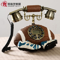 Wholesale Creative football telephone resin model sports theme corded landline telephone Crafts interesting personality American home decorations