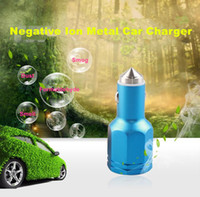 Wholesale Negative Ion Car Charger SF003 For Cell Phone Stainless steel Safety Hammer Emergency Car Charger And Double Usb Port and Air purification