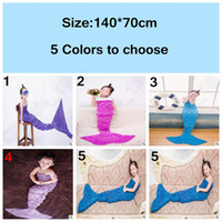 Wholesale 5 Colors cm Kids Mermaid Sleeping Bags Winter Knitted Mermaid Blankets Mermaid Tail Blanket Mermaid Tail Sleeping Bag LJJC4909