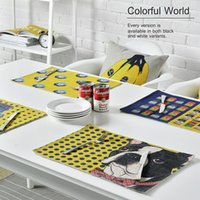 bamboo art pad - Yellow Monkey Banana Can Pop Art Concise Warm Home Decor Cotton Linen Pattern Insulation Pad Meal Cup Table Plate Mat Gift