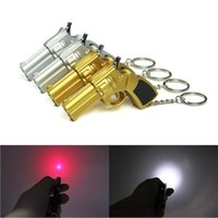 antique flashlight - Multifunction in Pistol Style Key Chains Mini LED Flashlight mw Red Laser Beam Laser Pointer Pen Hard PC Keychain with A batteries