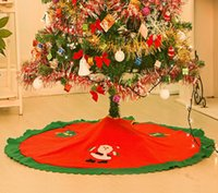 Wholesale Santa Claus Tree Skirt Christmas Tree Ornament Skirts Vintage Non woven cartoon Apron festive party decorations supplies red