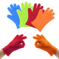 Wholesale Silicone BBQ Gloves Insulated Kitchen Tool Heat Resistant Glove Oven Gloves Pot Holder Cooking Mitts Five Fingers Anti Slip Dots Thicker