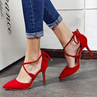 adhesive backed ribbon - Sexy talian Euro Fashion Woman High heeled Shoes Spring Lace up Suede Pumps Pointed Toe Cross Tie Back Red Stilettos Bridal Shoes Women