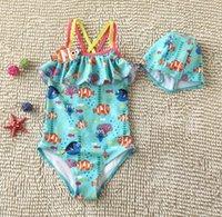 baby swimwear - Finding Nemo baby cartoon swimsuit hat leotard years cheap kids summer bathing suit blue fish children s swimwear AL