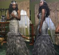 al por mayor vestidos de nigeria-Negro 2016 de la muchacha brillante de lujo totalmente Prom Party moldeado de la pluma de la sirena del desfile de los vestidos formales de la manera Árabe Parejas Nigeria ocasión de vestir