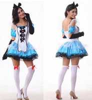 adult halloween tutus - Sexy Costume Alice Cosplay Woman Four Pieces Clothing Gown Cute Trajes Tutu Halloween Adult Disguisement Clothes Lady CA893