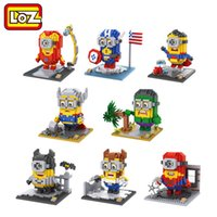 Wholesale 2016 LOZ Minions Cosplay Batman V Superman Captain America Hulk Iron Man Thor Loki Action Figure Children Toy Building Blocks