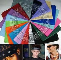 Wholesale New Fashion Hip Hop Black Paisley Bandana Bandanna Headwear Hair Band Scarf Neck Wrist Wrap Band Headtie For Women Mens b264