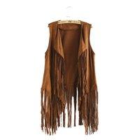 Wholesale Women seude solid fringe vest fashion tassel waist coat outerwear casaco feminine casual streetwear tops MJ72