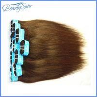Venta al por mayor de Brown rectas de color que teje 1kg mucho pelo humano brasileño 20pcs 14