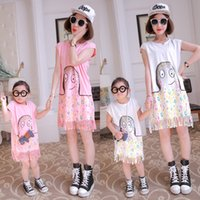 Wholesale Cute Sweet Cartoon Octopus Print Mother Daughter Dress Colorful Bubbles Fringe Tassel Casual Fashion Frocks Family Matching Outfits Clothing