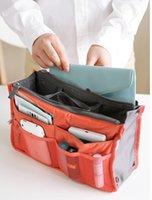 Wholesale Bag in Bag travel organizer Dual Insert Multi function Handbag Makeup Bag Pocket Bag Organizer Washing Bag Cosmetic Handbag