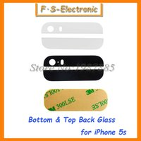 Wholesale 20pairs Black White Back Rear Housing Part Top Bottom up down Glass Lens Cover with M Sticker Adhesive for iPhone S G Repart