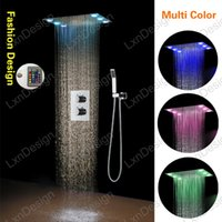 Wholesale Multi Color SUS Embeded Ceiling Rain Shower Head Faucet Thermostatic Valve Mixer Tap Set With Handheld Shower Spray