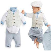 baby pants thank - 2016 autumn new Baby suit gentleman boys clothing set Three sets vest long sleeves shirt long pant blue bebe thanks