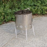 bbq with wood - Outdoor Wind Shield Camping Picnic Wood Alcohol Burning Stove with Tripod Rack Storage Bag Water Coffee Tea Cooking BBQ Stove order lt no tr