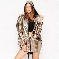 Cheap New Fashion Gold Jackets Women Hooded Zipper Up Punk Rock European Dance Wear Casual Outerwear hiphop coats women cardigan clothing