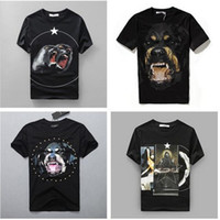 Wholesale Summer Women Men Cotton T Shirt Roaring monkeys stars Brand desinger rottweiler printed gvc Kanye West t shirt men Tee Shirts