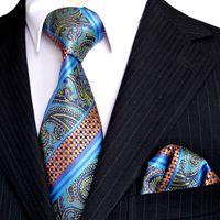 al por mayor franja multicolor-E3 Stripes Paisley Multicolor Azul Oscuro Turquesa Naranja Mens Ties Set Corbatas Pocket Square 100% Seda Jacquard Tejido