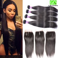 bella lace - 8A Brazilian Straight Virgin Hair Bundles With Lace Closure Malaysian Peruvian Indian Remy Human Hair Weave And Closure Bella Hair Dyeable