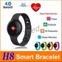 Le moins cher 30 Heart Rate Wearable intelligent Bracelet Bluetooth podomètre Wristband poignet H8 Fitness Tracker intelligent Band pour Android IOS téléphone intelligent