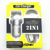 Wholesale 2 Port Dual Brushed Aluminum Metal Car Chargers With Micro USB V8 Cable in Charger Set For Samsung IPhone iPad