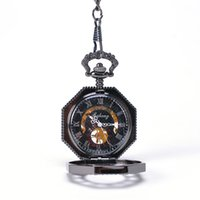 best octagons - Black Cool Ocon Roman Numbers Hand Wind Mechanical Pocket Watch Best seller Mixed