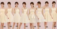 al por mayor prom vestidos cortos violeta-La moda de Nueva Estilo Violeta gasa y vestidos cortos del partido atractivo del vestido de los vestidos formales vestidos de noche Listones dulces damas de honor de encaje de baile '