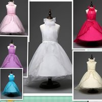 Wholesale Princess dress skirt pearl belt dress trailing dress Princess dress flower girl dress kids wedding prom party