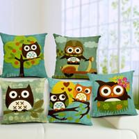 Cheapest 45 45cm Square Owl Cushion Cover Linen Cotton Big Eye Owl Cartoon Pillow Case For Halloween Christmas Decor