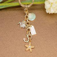 Wholesale 9 Styles Fashion Rhinestone Keychains Heart Key Chain Stainless Steel Plating K Gold Metal Handbag Pendant Car Ornaments Key rings