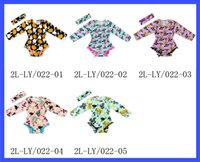 Wholesale 5 color baby girl Halloween Rompers cartoon pumpkin printing Jumpsuits cotton Long Sleeve Rompers and headband set infant Kids Clothing