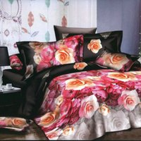 bedding duvet set wholesale - 4pcs D Printed Bedding Set Bedclothes Chinese Rose Queen Size Duvet Cover Bed Sheet Pillowcases H15501