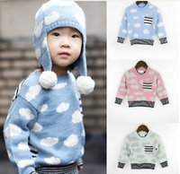 Wholesale Cute Cuffs - INS babies clothes autumn new boys girls cute clouds sweater toddler knitting pullover kids stripe elastic cuff sweater tops A9594